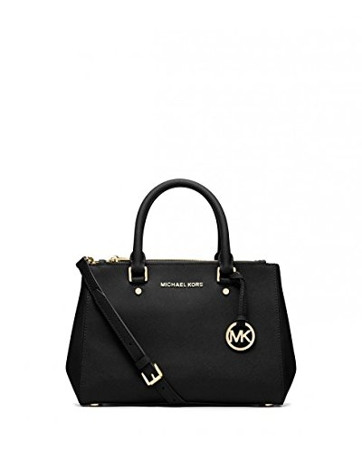 MICHAEL Michael Kors Sutton Black Small Saffiano Leather Satchel