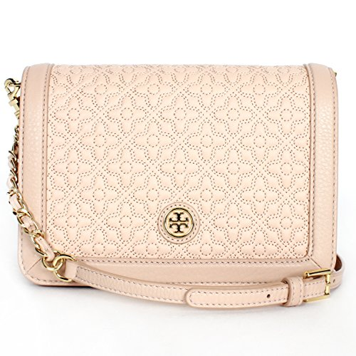 Tory Burch Bryant Quilted Stitched Chain Crossbody Light Oak