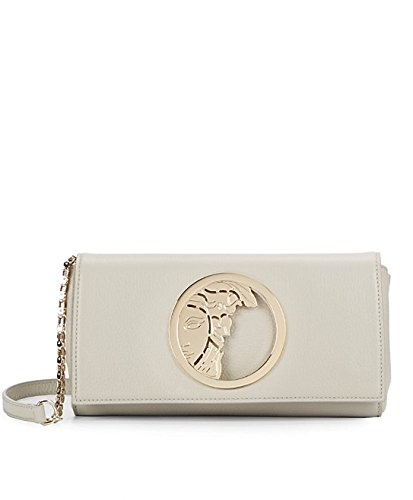 Versace Collection Chain Strap Leather Medusa Logo Convertible Clutch, Lt. Grey
