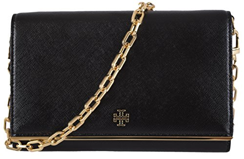 Tory Burch Robinson Patent Leather Chain Wallet in Black