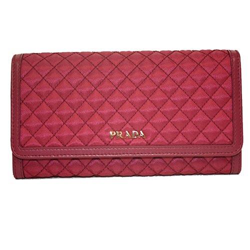 Prada Tessuto Quilted Nylon Continental Flap Wallet 1M1132, Pink