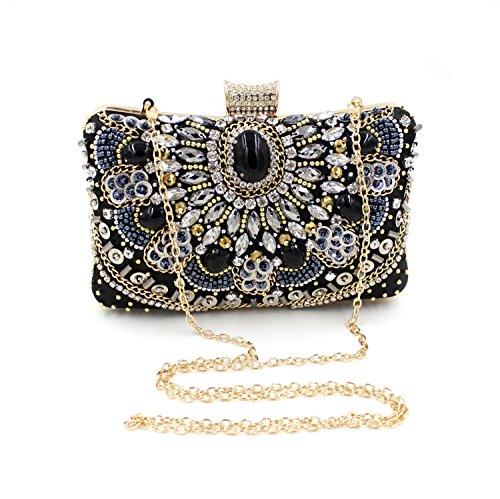 Jasmine15 Vintage Women Crystal Black Cocktail Beaded Evening Clutch Bag Purse Handbag