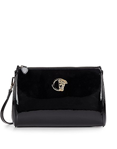 Versace Collection Glossy Leather Medusa Convertible Clutch Shoulder Bag, Black