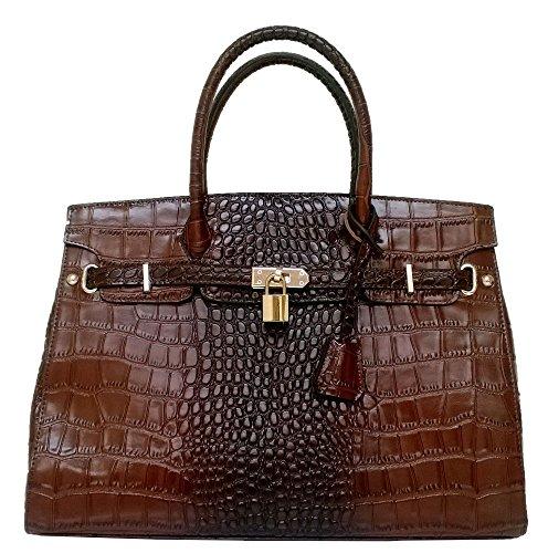 Alkok Washington 100% Real Leather Crocodile Embossed Elegant Luxury Women/girls Satchel Bag Handbags