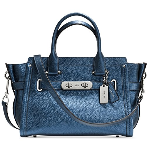 COACH Women's Metallic Coach Swagger 27 SV/Metallic Blue Satchel