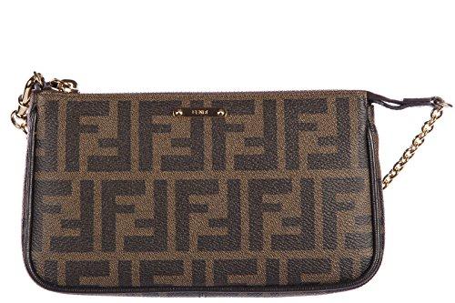 Fendi women's leather clutch handbag bag purse zucca brown