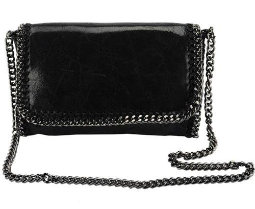 Italian Black Clutch Genuine Leather with removable Shoulder Strap Designed & Hand Made in Italy