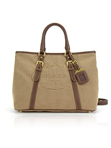 Prada Jacquard Logo Canvas Leather Trim Tote Bag in Brown in Corda Bruciato
