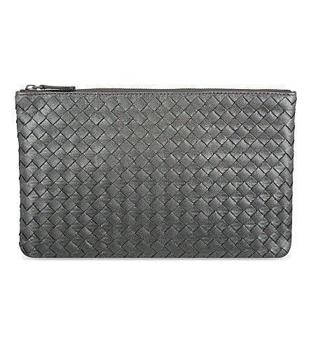 Bottega Veneta Intrecciato Flat Zip Case Black Woven Clutch Italian Leather New