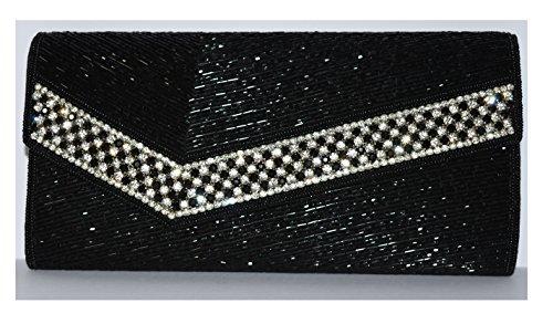 Black Diamond and Bead Evening Bag