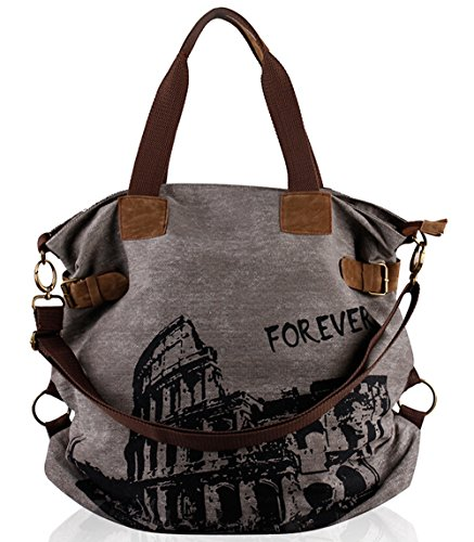 Fansela(TM) Women Vintage Retro Canvas Hobo Shopper Crossbody Handbag