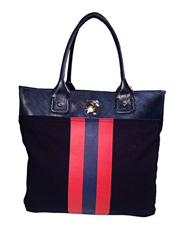 Tommy Hilfiger Large Tommy Tote Handbag Navy Blue Red Stripe