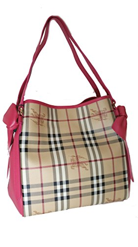 Burberry Haymarket Bows Small Canter Panel Tote Bag