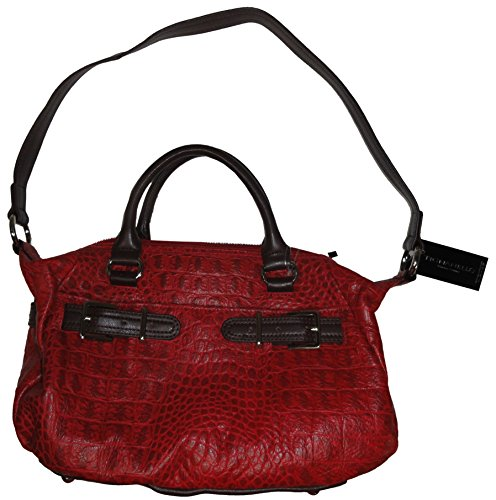 Tignanello Croco Structure Leather Shoulder Satchel, Red