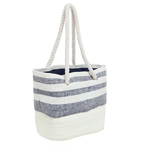 MG Collection Nautical Resort Style Blue White Stripe Woven Straw Fashion Tote
