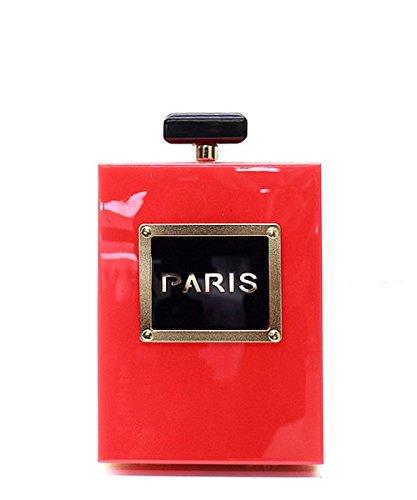 Fashion Paris Perfume Bottle Clutch Evening Shoulder Bag Red