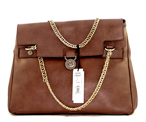Versace Collection Flapover Satchel, Brown with Gold Tone Hardware