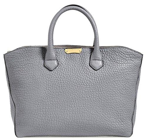 Burberry Medium Dewsbury Pebbled Grey Leather Tote Bag