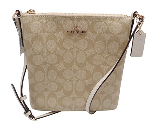 Coach Cc Signature Ns Cross Body File Shoulder Bag Purse F35940 Khaki Chalk