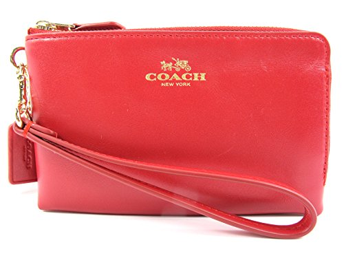 Coach Smooth Leather Double Corners Zip Wristlet Classic Red 64581