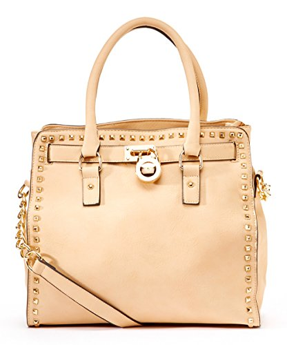 MKF Collection STONER Pad-Lock Office Tote Handbag (Beige)