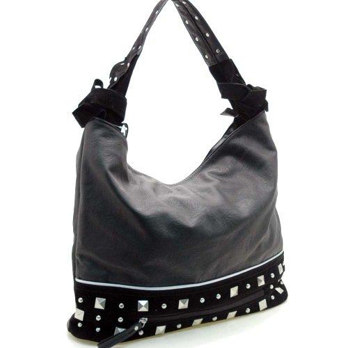 Dasein Designer inspired hobo bag with studs -Black