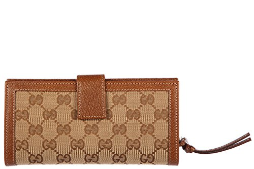 Gucci women's wallet coin case holder purse card bifold gg supreme brown