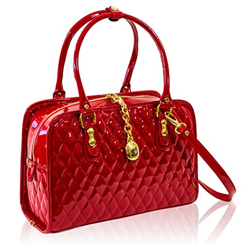 Marino Orlandi Italian Designer Red Patent Quilted Leather Structured Bag