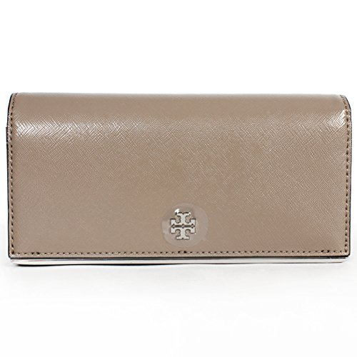 Tory Burch Robinson Envelope Continental Patent Wallet French Grey