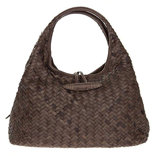 Paolo Masi Italian Made Brown Hand Woven Leather Purse Handbag