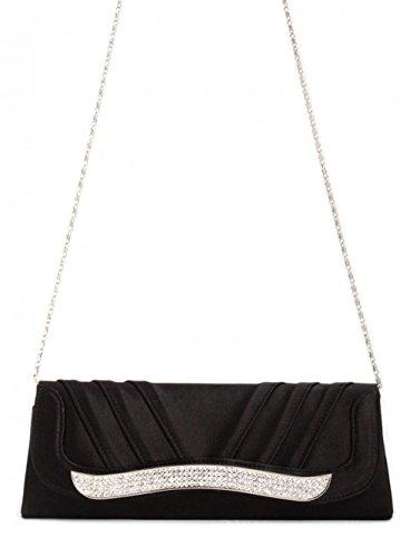POPLife Satin Evening Bag Black Rhinestones Clutch Chain LadiesHandbag Wedding Purse