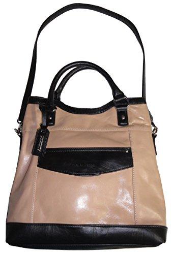 Tignanello Purse Handbag Downtown Girl Leather Foldover Tote Frappe/Black