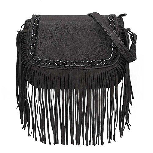 BMC Womens Stylish Faux Leather Tassel Flap Shoulder Handbag Purse