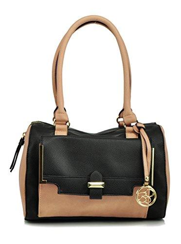 Jessica Simpson Color block Satchel Shoulder Bag, Black/Sand