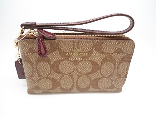 Coach Double Corner Zip Wristlet in Signature in Khaki / Sherry