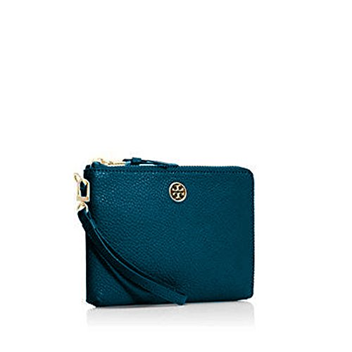 Tory Burch Robinson Large Leather Wristlet – Electric Eel