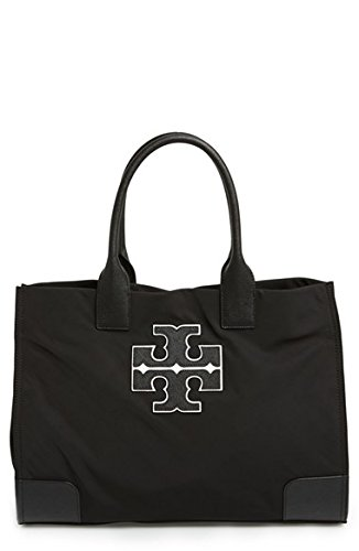 Tory Burch Ella Varsity Tote Handbag Satchel Purse in Black (001)