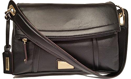 Tignanello Lady Link Flap Leather Satchel Black Handbag