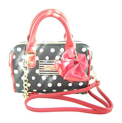 Betsey Johnson Mini Barrel Dot Crossbody Handbag Black Multi