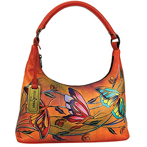 Anuschka Hand Painted Genuine Leather Leather Small Hobo Bag (Angel Wings-Tangerine)