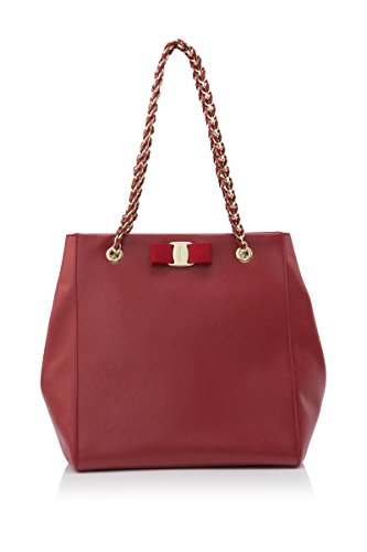 Salvatore Ferragamo Womens Fashion Handbag liny chain leather Handles with bow