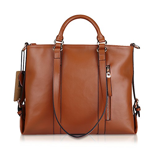 Kattee Urban Style 3-Way Women's Genuine Leather Shoulder Tote Bag (Orange)