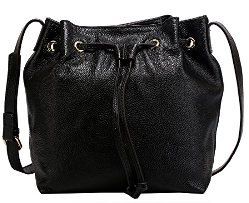 Heshe® New Luxury Soft Cow Leather Fashion Hobo Buckets Shoulder Top Handle Cross Body Drawstring Bag Purse Women's Handbag