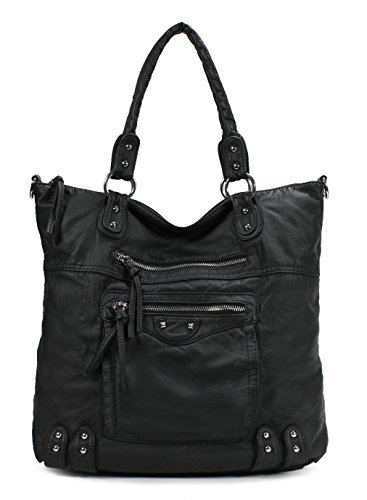 Scarleton Large Soft Washed Front Pocket Shoulder Bag H1784