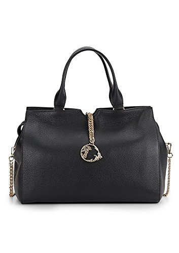 Versace Collection Vitello Stampa Alce Pebbled Leather Satchel, Black