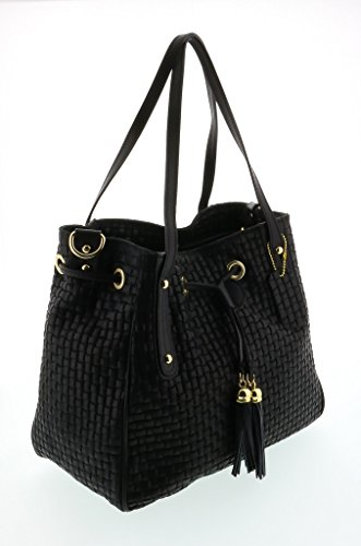 HS 2025 NR AGAPE Black Leather Tote/Shopper Bags
