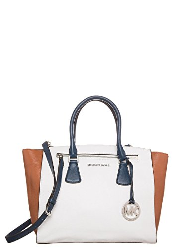 MICHAEL Michael Kors Large Sophie Satchel in White/ Cedar/ Navy