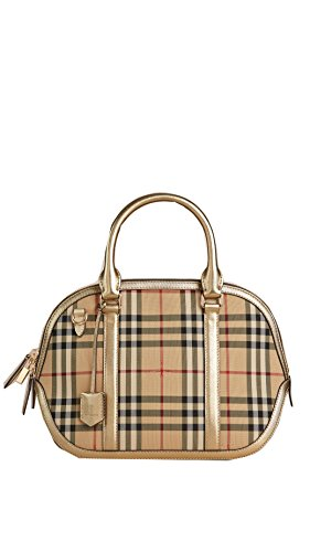 Burberry Horseferry Check and Leather Clutch – Honey/Gold