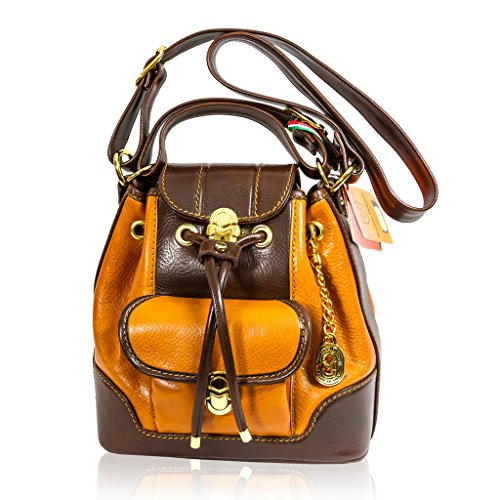 Marino Orlandi Italian Designer Cognac Leather Sling Purse Bucket Crossbody Bag