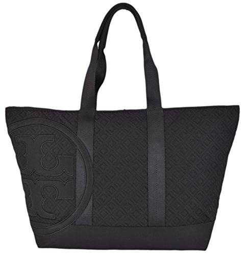 Tory Burch Black Nylon Medium Handbag Penn Quilted Middle Zip Tote
